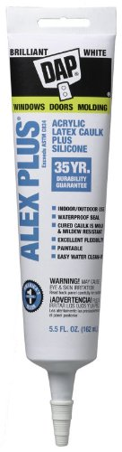 Pack of 6 - Dap 18128 5.5 Oz White Alex Plus Acrylic Latex Caulk Plus Silicone by DAP