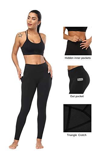 Fengbay High Waist Yoga Pants, Pocket Yoga Pants Tummy Control Workout Running 4 Way Stretch Yoga Leggings (X-Small, L Black) by Fengbay (Image #2)