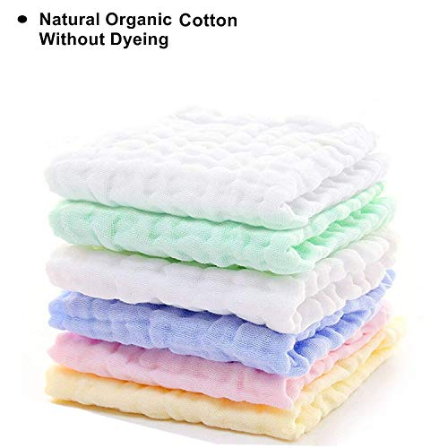 Chuanyue Baby Muslin Washcloths Set - Reusable and Extra Soft Natural Organic Cotton Baby Washcloths & Wipes-Suitable for Sensitive Skin Baby Registry as Shower Gift Set 6 Pack 10x10 Inches
