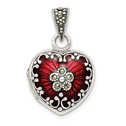 Sterling Silver, Red Enamel and Marcasite Antiqued Heart Locket, -