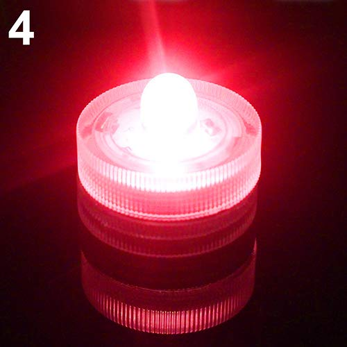 AchidistviQ 12Pcs Submersible Waterproof Wedding Tea Candle Lamp Battery Operated LED Lights LED Waterproof candle lamp aquarium light Aqua Lantern Party bar wedding waterproof White