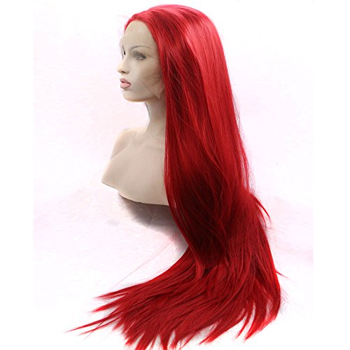 Bombshell Silky Straight Red Synthetic Lace Front Wig Heat Resistant Fiber Naurtral Hairline Free Parting For Black Women