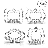 Jasonsy Plaque Frame Cookie Cutter Set - 8 Pcs - Square,Oval,Rectangle,Photo Plaques,Stainless Steel Fondant Cutters Molds,Assorted Sizes(Big Size)