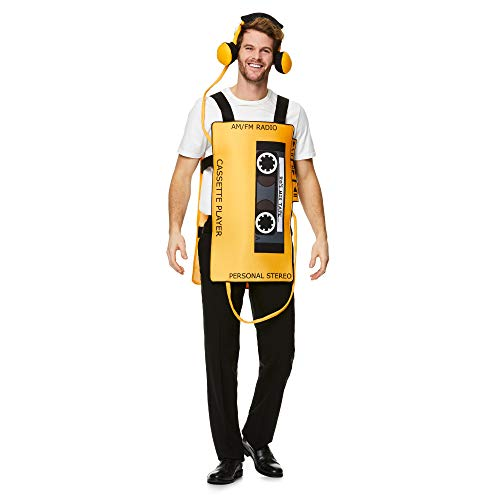 Cassette Tape Player Costume - Halloween Funny Novelty Mascot Cosplay Accessory Yellow