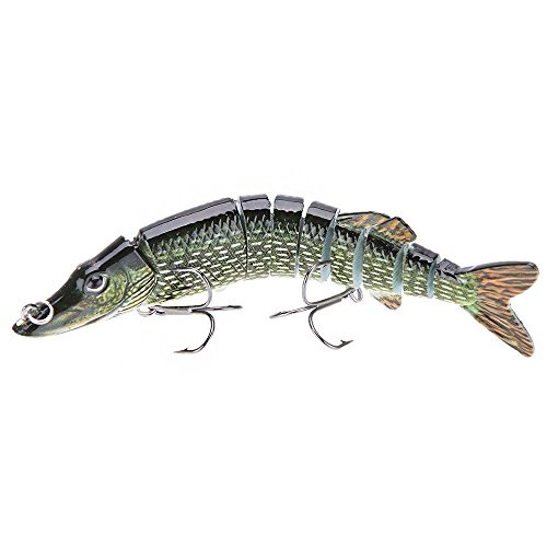 "Fishing lure - TOOGOO (R) 5 ""/ 12, 5cm 20g alive realistic fishing lure multi articulated 9-segement Pike Muskie Swimbait Crankbait hard fish bait with two Triple hook """