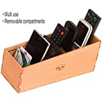 Nhatvywood Remote Control Holder used as an Remote Organizer for Cell phone, Phone, Glasses, Card with removable compartments - Remote Holder size 9.84x3.54x3.9 INCH(25x9x10 cm)