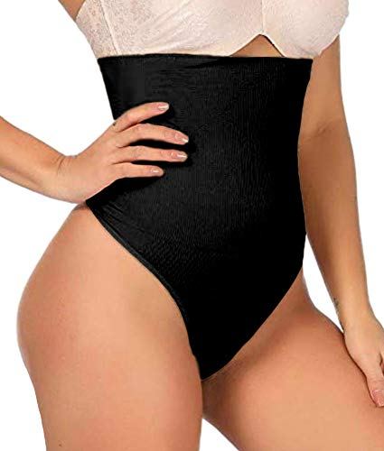ShaperQueen 102 Thong Best Womens Waist Cincher Body Shaper Trimmer Trainer Girdle Faja Bodysuit Short Slip Tummy Control Brief Corset Plus Size Underwear Shapewear Thong (L, Black)