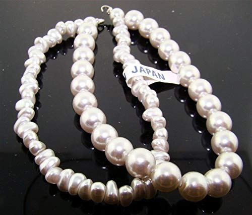 (Vintage Grey Pearl 2 Strand 8mm. Round Nugget Lucite Bead 8 Section HDRY- 2428)