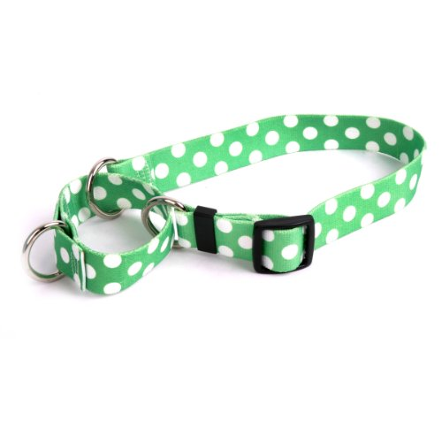 Lime Polka Dot Martingale Control Dog Collar - Size Medium 20