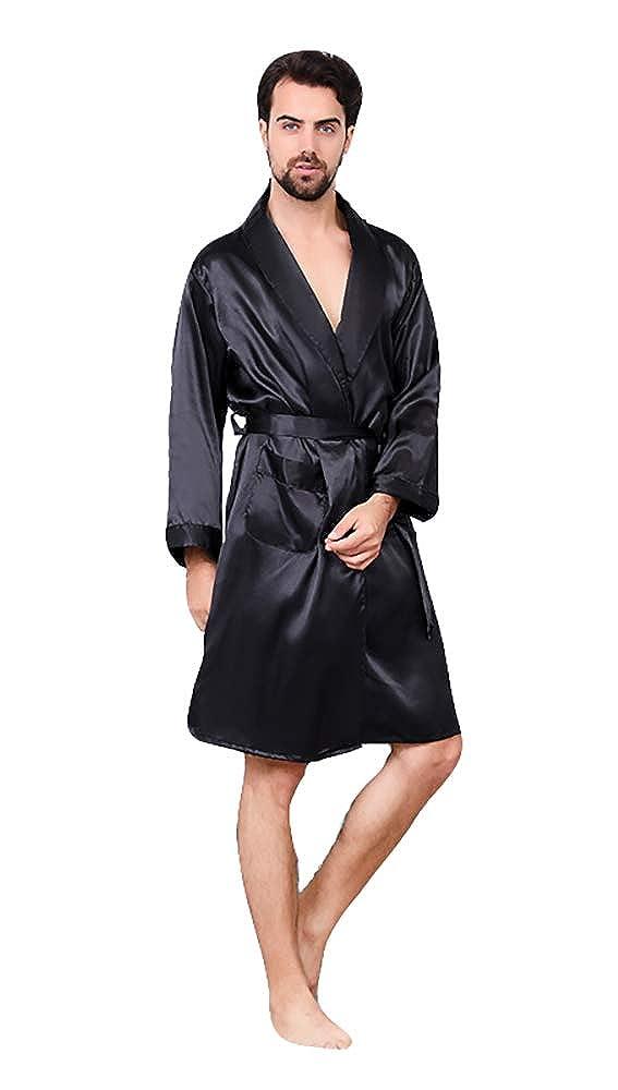 9513ec28d0 Oeak Men s Shawl Collar Kimono Bath Robe Silk Dragon Kimono Sleepwear at  Amazon Men s Clothing store