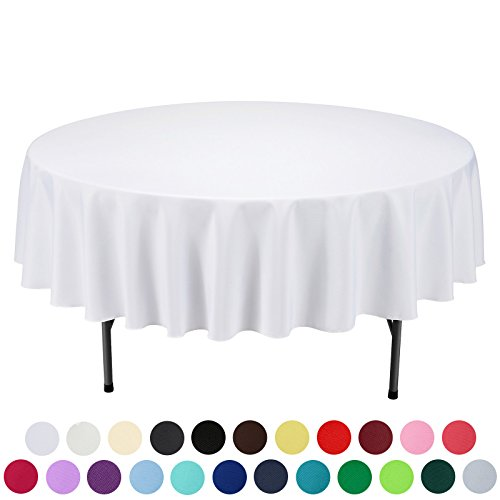 VEEYOO 90 inch Round Solid Polyester Wedding Restaurant Party Tablecloth, White
