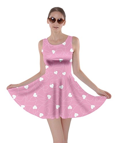 CowCow Womens Pink Happy Valentines Day Pattern Template Skater Dress, Pink - M