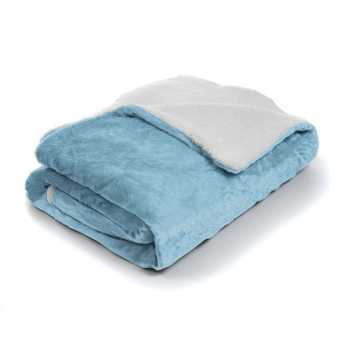 Lavish Home Fleece Blanket with Sherpa Backing, Twin, Blue b