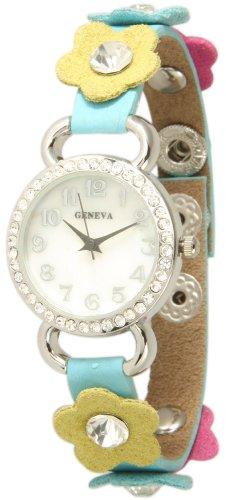 Geneva Aqua Blue Leather Band w/ Multi Color Daisy Flower Crystal Watch