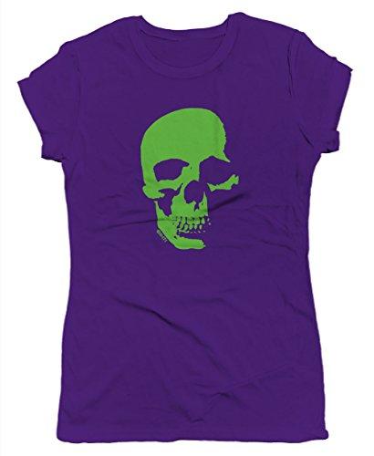 Neon Green Skull Junior's T-shirt, SpiritForged Apparel, Purple Large (Spirit Halloween Sf)