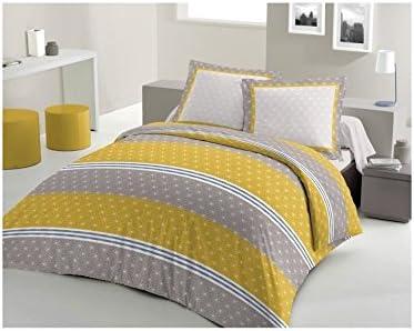 Lovely Home Parure De Couette Scandinave 100 Coton 1 Housse De Couette 200x200 2 Taies D Oreillers 65x65 Jaune Moutarde Et Gris