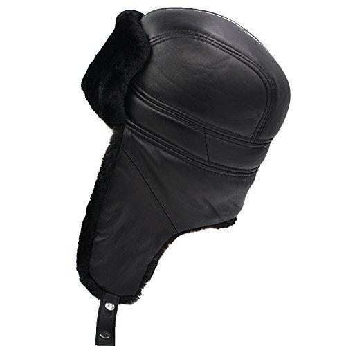 (IFSUN Winter Faux Fur Hunting Hat Leather Unisex Trapper Russian Aviator Trooper Hat)