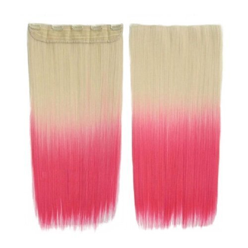 SODIAL(R) Colorful Hair Extensions 130g 60cm/24inch heat resistant fantastic Synthetic Long Clip in Hair Extensions Women hair 5 clips one piece hair extensions (Straight, Gold + Pink) 064181A7