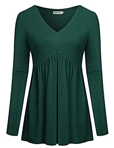 Ladies Tunics For Leggings, Ouncuty Pullover Tops Long Sleeve Office Blouses (Long Sleeve Office)