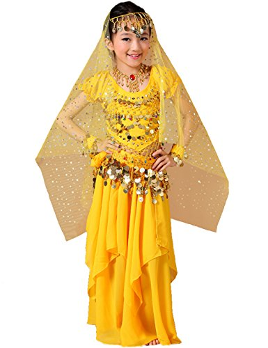 Astage Girls Princess Costume Halloween Dance Sets Yellow 7 to 8 Years - Belly Dancing Costumes For Halloween