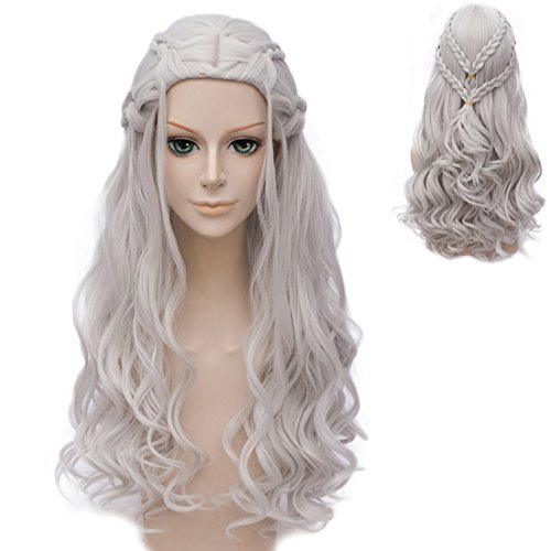 Amback Long Curly Braid Styling Cosplay Wig Silver/Blonde (Silver Curly Braid)