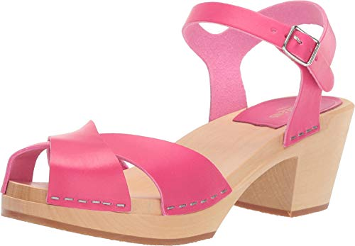 swedish hasbeens Women's Mirja Ankle Strap Clogs, Cherry Pink, 37 M EU
