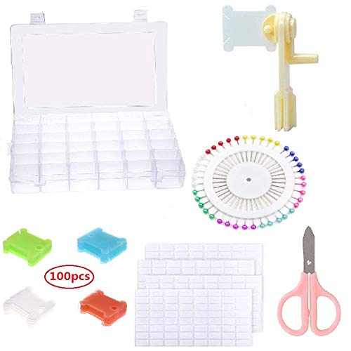 36 Grids Plastic Embroidery Floss Cross Stitch Organizer Box, with 100 Pieces Floss Bobbins 1 Pieces Floss Winder and 4 Pieces Sticker, Embroidery Tools and A Pair of Scissors