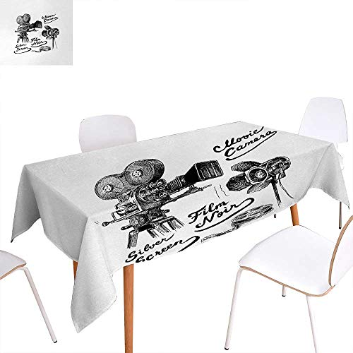 Warm Family Movie Theater Printed Tablecloth Cinematography Themed Artwork with Old Camera and Equipment Silver Screen Rectangle Tablecloth 70