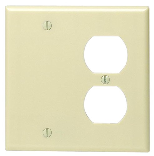 Gang Wall Plates Duplex Leviton - Leviton 86008 001-000 1-Duplex 1-Blank Standard Size Wall Plate, 2 Gang, 4.5 in L X 4.56 in W 0.25 in T, Standard Ivory