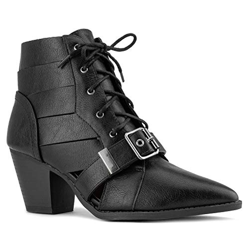 RF ROOM OF FASHION Cutout Pointy Toe Stacked Heel Lace Up Ankle Booties Black Size.7.5