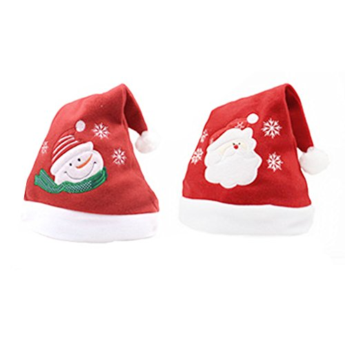 Mrs Claus Costume Images (Daixers 2 Pack Adult Christmas Hat For Celebrations and Recreation)