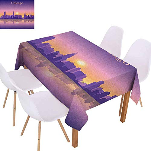 Marilec Rectangular Tablecloth Chicago Skyline Sunset in Illinois American Horizon Behind High City Silhouettes Easy to Clean W52 xL72 Purple Apricot Pink