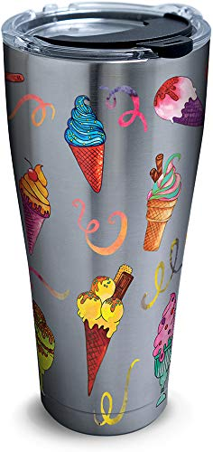 Tervis 1290257 Ice Cream Cones Insulated Tumbler with Clear and Black Hammer Lid, 30 oz Stainless Steel, Silver