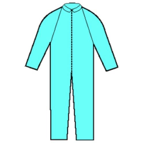 Halyard Health 75631 Protective Coverall, 3-Layer SMS Fabric, Large, Blue (Pack of 24)