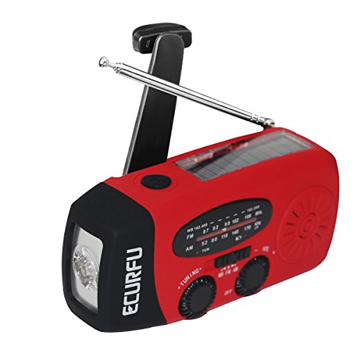 Emergency Radios  Ecurfu Hand Crank Self Powered Am Fm Noaa Solar Weather Radio With Led Flashlight  1000Mah Power Bank Phone Charger  Red