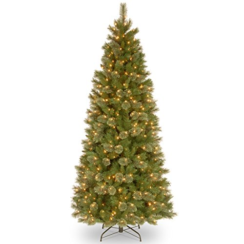 National Tree 7.5 Foot Tacoma Pine Slim Tree with 500 Clear Lights, Hinged (TAP7-309-75)