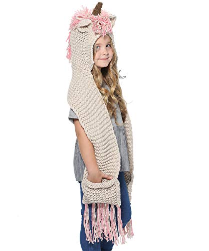(SENSERISE Winter Kids Warm Animal Hats Knitted Hood Scarf Beanies 1 Pink Unicorn(3-10years)