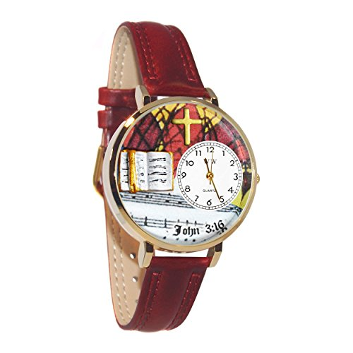 Whimsical Watches Unisex U0710002 John 3:16 Burgundy Leather Watch from WHIMSICAL