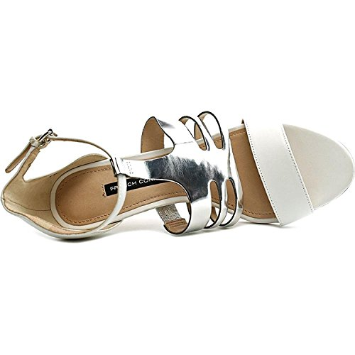 French Connection Lia - Sandalias de vestir de Piel para mujer negro Summer White/Coffee Bean Summer White/ Silver