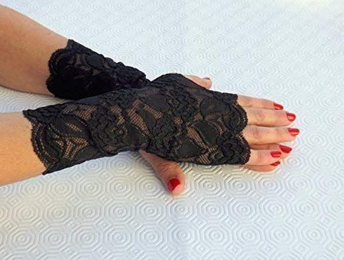 Black Lace Fingerless Gloves, Elastic Floral Mittens, Lace Accessories.