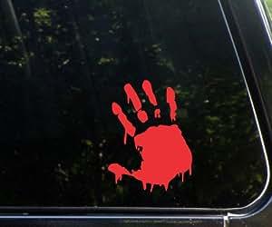 "1 X BLOODY ZOMBIE HAND PRINT(Right Hand) - 5.5"" RED (IKON SIGN ORIGINAL) - Vinyl Decal WINDOW Sticker - NOTEBOOK, LAPTOP, WALL, WINDOWS, ETC."