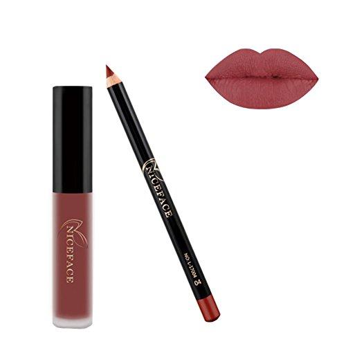 Liquid Lipstick ROPALIA Matte Waterproof 24 Hour+Lip Liner Set