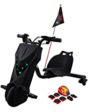 Toy&Joy Drifting Electric Scooter Dark Black with Helmet Pad Set, Knee and Elbow Pads 36V