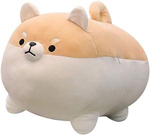 BLACKOBE Anime Shiba Inu Plush Stuffed Sotf Pillow Doll Cartoon Doggo Cute Shiba Animal Toy, Valentine's & Christmas Gifts for Girlfriends Kids, Round Eye, 16 in (Brown)