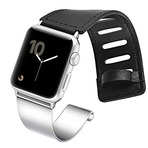 fastgo Compatible for Apple Watch Bands 38mm 40mm 42mm 44mm, Dressy Stainless Steel Leather Cuff Strap Compatible for Iwatch Bracelet Series 4 3 2 1 Women Men Adjustable