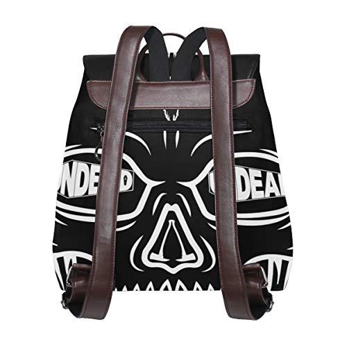 Kvinnor PU-läder skalle svart ryggsäck handväska resa skola axelväska ledig dagväska