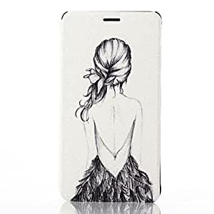 LZX Beautiful Girl Pattern PU Leather Full Body Cover with Card Slot for Samsung Galaxy Note 4
