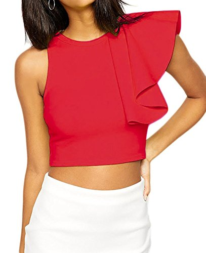 made2envy One Shoulder Ruffle Crop product image