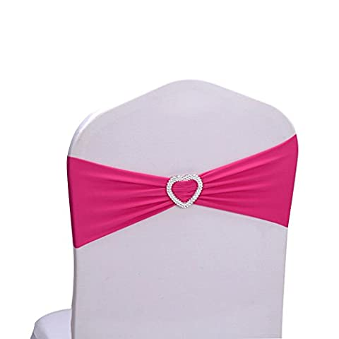 Hemons 10pcs Stretch Elastic Heart-shaped Chair Cover Band Sashes with Buckle for Wedding Event Banquet Party Decor (Rose - Rose Bouquet Wedding Invitations