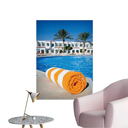 Vinyl Wall Stickers Orange Towel on a Sun Lounger on The Background of The Pool Perfectly Decorated,32